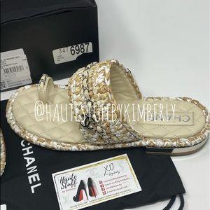 Chanel 20S Beige White Raffia Tweed CC Sandal